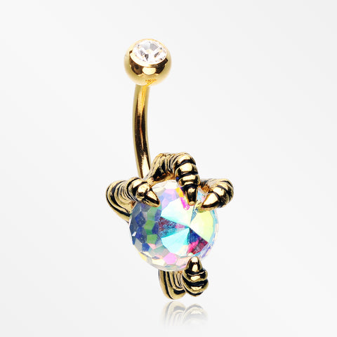 Golden Dragon's Claw Paragon Belly Button Ring-Aurora Borealis