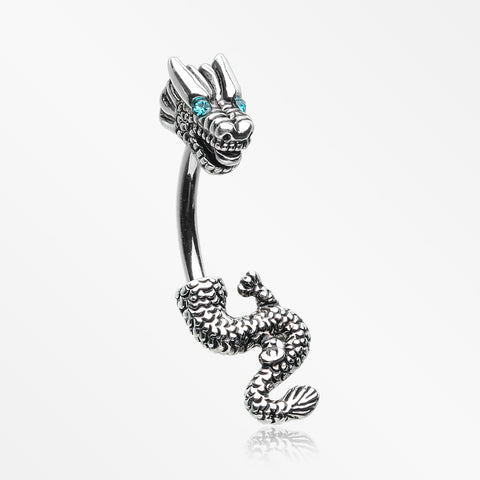 Mythical Ryu Dragon Belly Button Ring-Teal