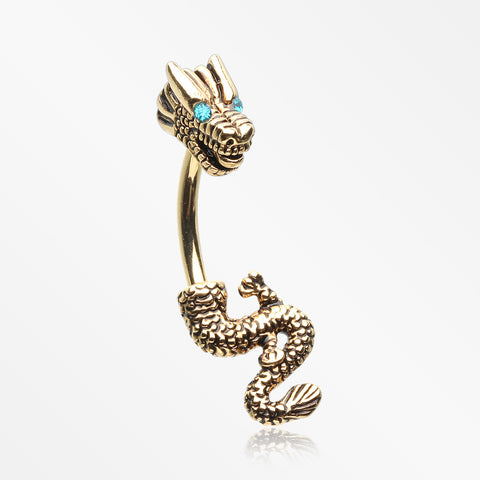 Golden Mythical Ryu Dragon Belly Button Ring-Teal