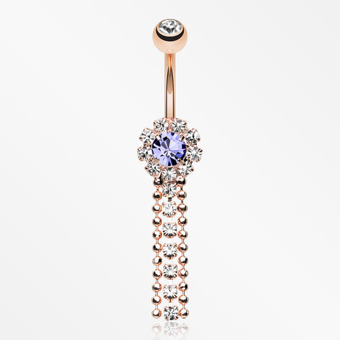 Rose Gold Wonder Sparkle Falls Chandelier Belly Button Ring-Clear/Tanzanite