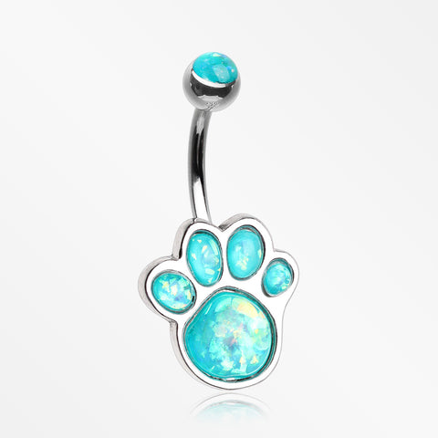 Adorable Paw Print Opalescent Sparkle Belly Button Ring-Teal