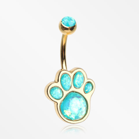 Golden Adorable Paw Print Opalescent Sparkle Belly Button Ring-Teal