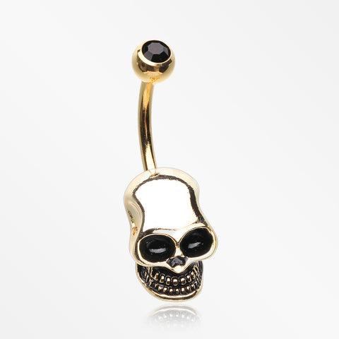 Golden Apocalyptic Skull Head Belly Button Ring-Black