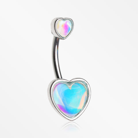 Iridescent Revo Sparkle Two Hearts Belly Button Ring