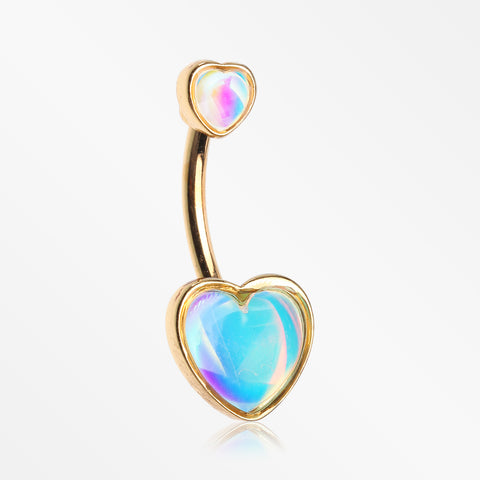Golden Iridescent Revo Sparkle Two Hearts Belly Button Ring