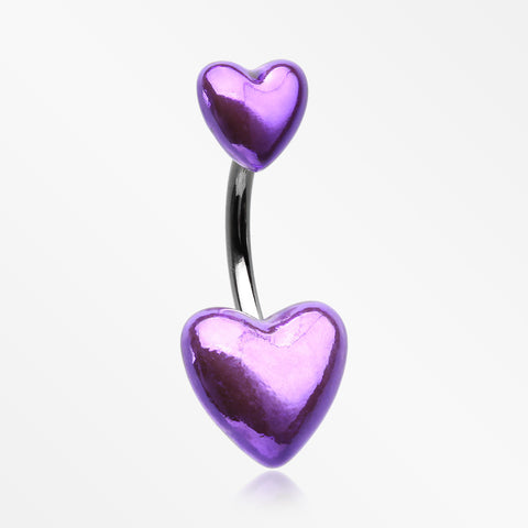 Metallic Shine Two Hearts Belly Button Ring-Purple