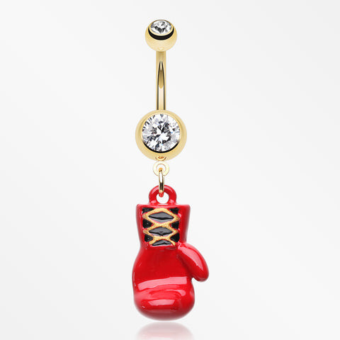 Golden Champ Red Boxing Glove Belly Button Ring-Clear/Red