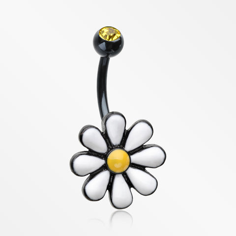 Blackline Adorable Spring Daisy Belly Button Ring-Black/Yellow