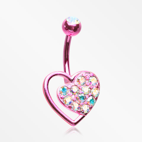 Colorline Sparkle Heart in Heart Belly Button Ring-Pink/Aurora Borealis