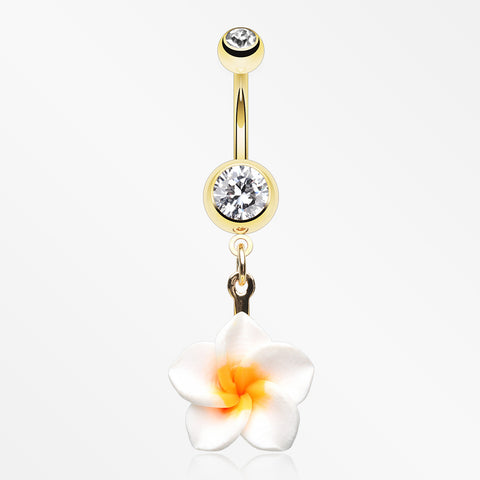 Golden Classic Plumeria Flower Belly Button Ring-Clear