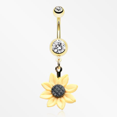 Golden Sunflower Blossom Belly Button Ring-Clear