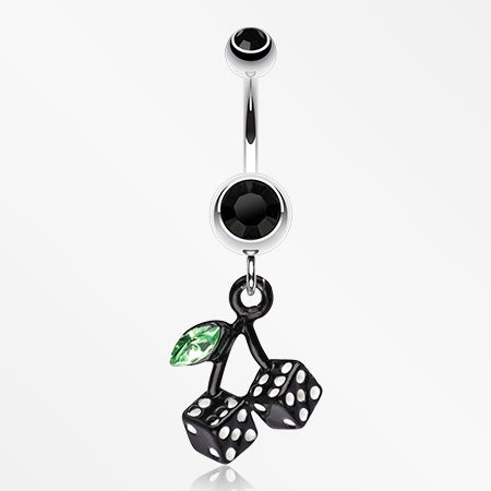 Vibrant Cherry Dice Belly Ring-Black