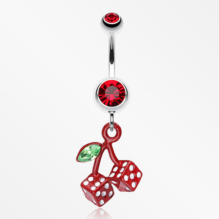 Vibrant Cherry Dice Belly Ring-Red