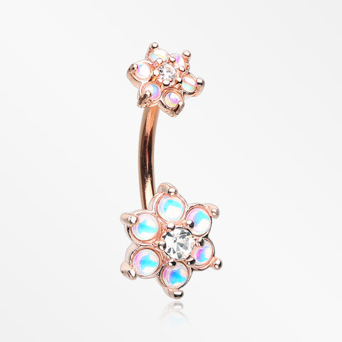 Rose Gold Iridescent Revo Spring Flower Sparkle Belly Button Ring-Clear