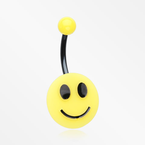Smiley Face Non Dangle Belly Button Ring-Black/Yellow