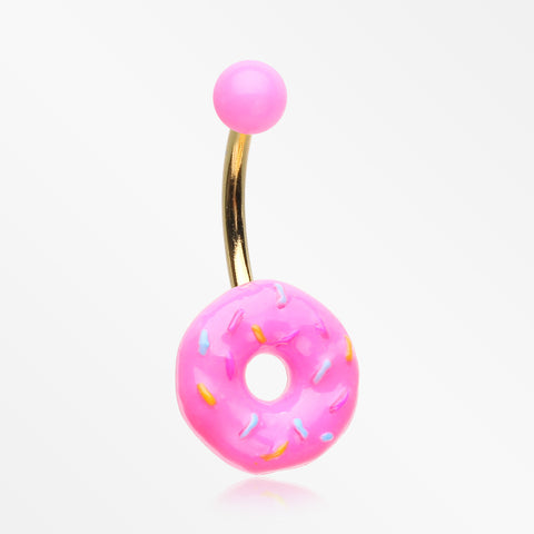 Sweet Pink Frost Sprinkled Donut Non Dangle Belly Button Ring-Pink