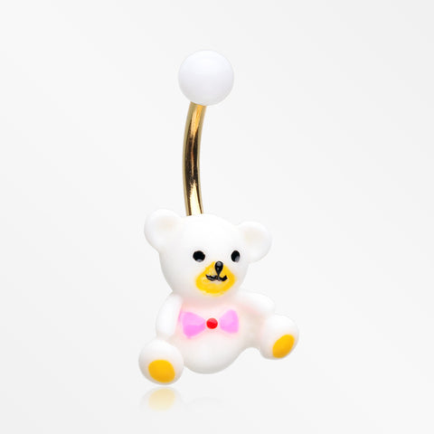 Adorable Teddy Baby Bear Non Dangle Belly Button Ring-White