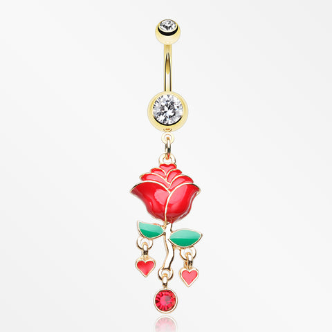Golden Stem of Rose Blossom Belly Button Ring-Clear/Red