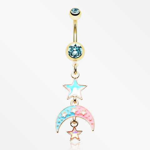 Golden Pastel Princess Stars and Moon Belly Button Ring-Aqua
