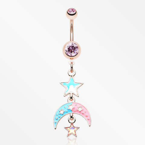Rose Gold Pastel Princess Stars and Moon Belly Button Ring-Light Pink