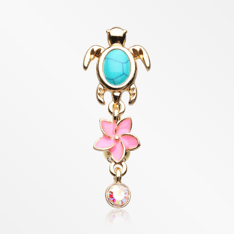 Golden Hawaiian Plumeria Turtle Sparkle Reverse Belly Button Ring-Clear/Aurora Borealis/Turquoise