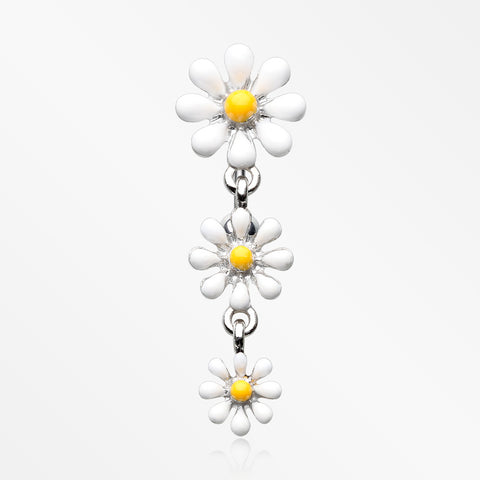 Adorable Spring Daisy Flowers Reverse Belly Button Ring-White/Yellow