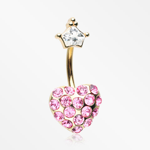 Golden Princess Crown Heart Sparkle Belly Button Ring-Clear/Pink
