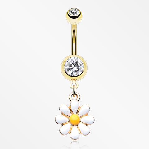 Golden Spring Daisy Sparkle Belly Button Ring-Clear