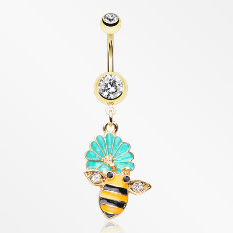 Golden Sweet Daisy Bumble Bee Sparkle Belly Button Ring-Clear