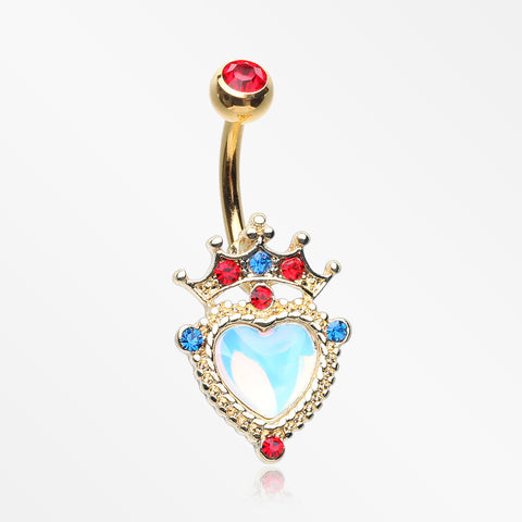 Golden Iridescent Crown Heart Sparkle Belly Button Ring-Red