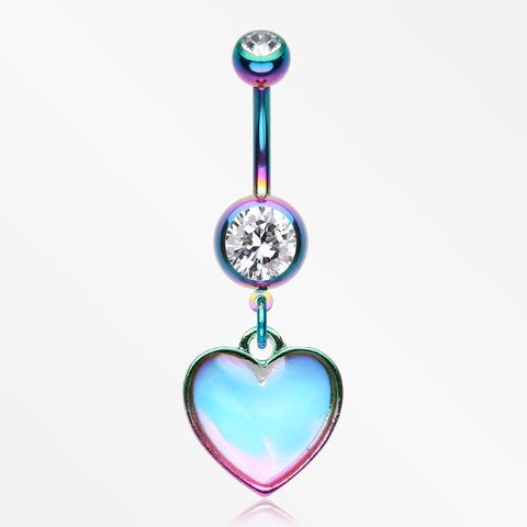 Colorline Iridescent Revo Heart Belly Button Ring-Rainbow/Clear