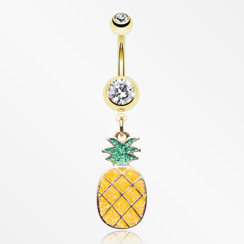 Golden Sweet Juicy Pineapple Belly Button Ring-Clear