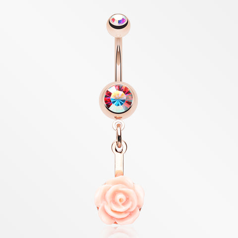 Rose Gold Sweet Pink Rose Blossom Belly Button Ring-Aurora Borealis