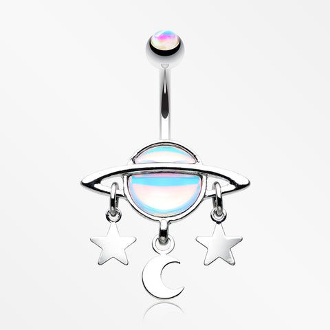 Iridescent Revo Sparkle Saturn with Stars and Moon Belly Button Ring