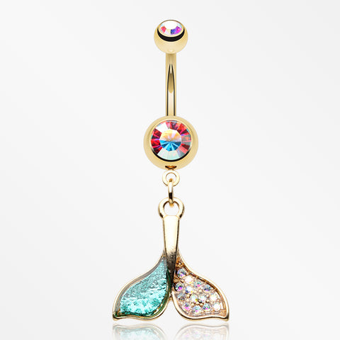 Golden Mystic Sparkle Dolphin Tail Belly Button Ring-Aurora Borealis