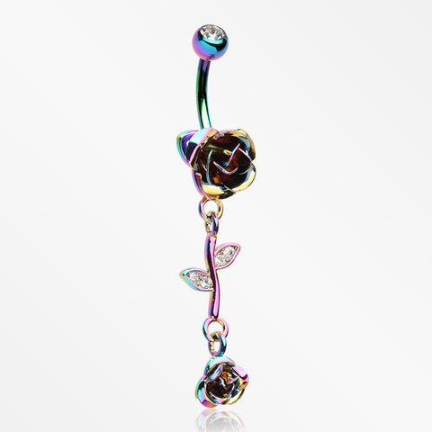 Colorline Bright Metal Rose Belly Button Ring-Clear