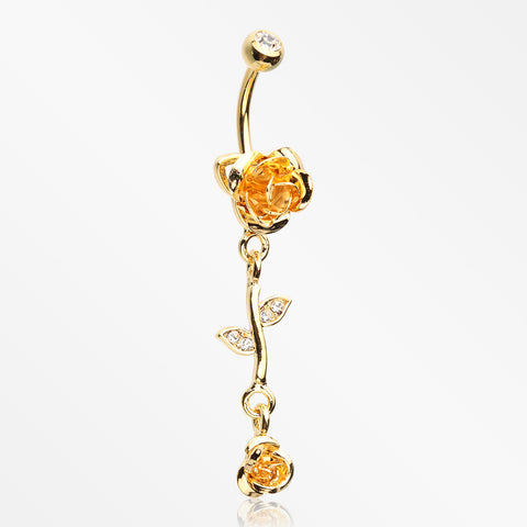 Golden Bright Metal Rose Belly Button Ring-Clear