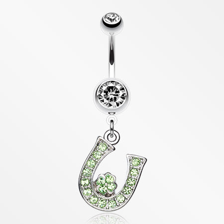 Jeweled Four Leaf Clover on Horseshoe Belly Ring-Clear