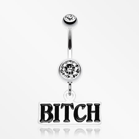 'BITCH' Engraved Belly Ring-Clear