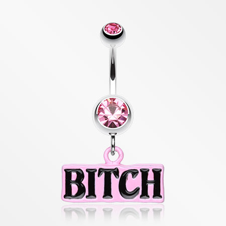 'BITCH' Engraved Belly Ring-Light Pink