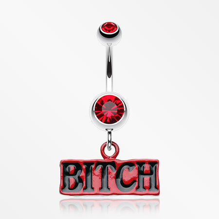 'BITCH' Engraved Belly Ring-Red