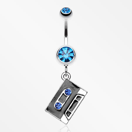 Cassette Tape Sparkle Belly Ring-Capri Blue