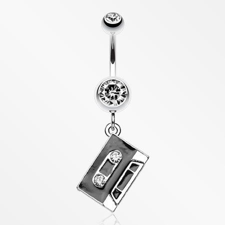 Cassette Tape Sparkle Belly Ring-Clear