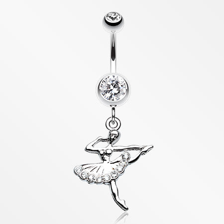 Elegant Ballerina Belly Button Ring-Clear