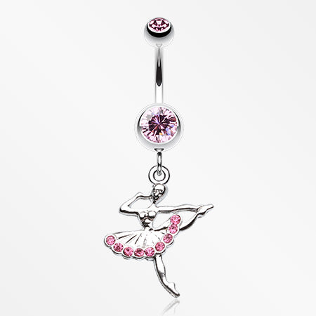Elegant Ballerina Belly Button Ring-Light Pink