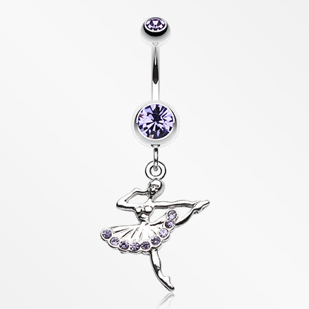 Elegant Ballerina Belly Button Ring-Tanzanite