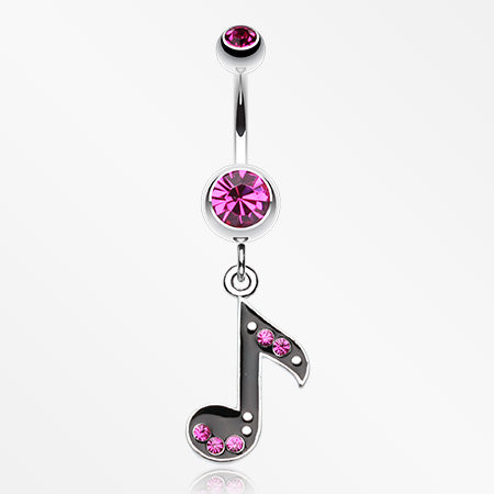 Eighth Music Note Sparkle Belly Ring-Fuchsia