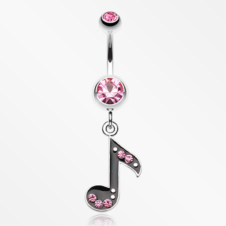 Eighth Music Note Sparkle Belly Ring-Light Pink
