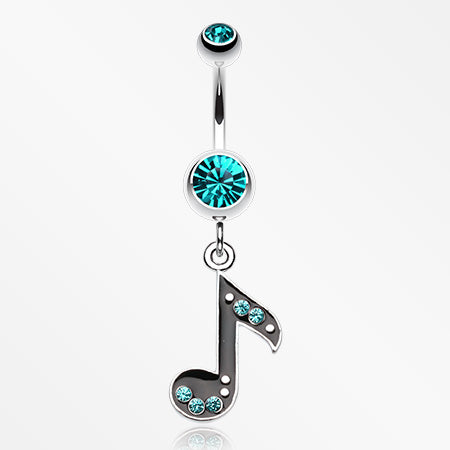 Eighth Music Note Sparkle Belly Ring-Teal