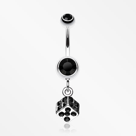 Single Dice Sparkle Belly Ring-Black